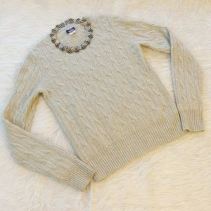 J.Crew Gray Cashmere Cable Knit Crew Neck Sweater